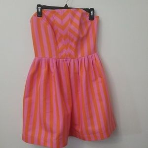 Lilly Pulitzer Pink Strapless Striped Party Dress